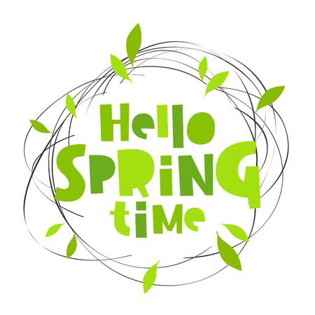 Hello spring time. Lettering. Vector illustration. Concept card. Vektorové ilustrace