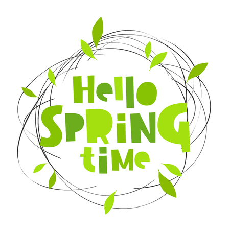 sleet: Hello spring time. Lettering. Vector illustration. Concept card.