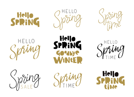 thaw: Set of quotes - Hello Spring. Calligraphy and lettering. Vector illustration on white background. Elements for design.