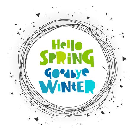 안녕하세요, 봄. 안녕 안녕. 문자 쓰기. 흰색 배경에 벡터 일러스트 레이 션. 개념 카드입니다.