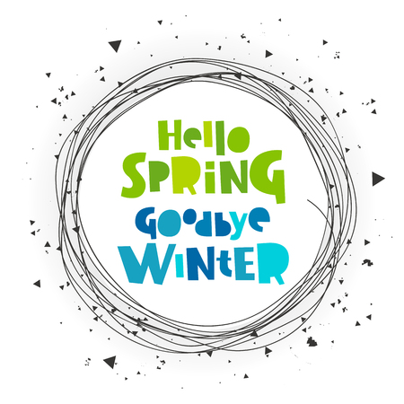 thaw: Hello spring. Good bye winter. Lettering. Vector illustration on a white background. Concept card.