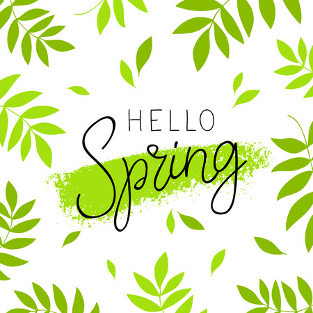 Hello spring. Calligraphy and lettering. Vector illustration. Green plant in the background. Concept card. Illustration