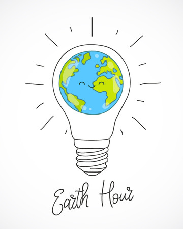 地球時間。白い背景の上の電球を惑星のベクトル イラスト。書道・ レタリング。エコロジーや省エネの概念。