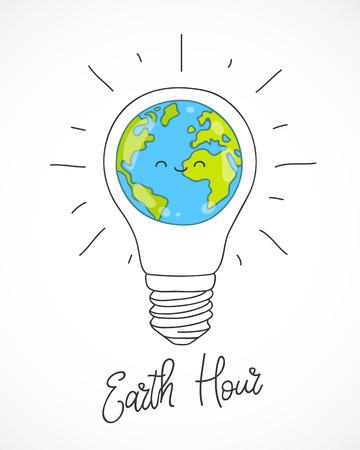 Heure de la terre. Illustration vectorielle de la planète en ampoule sur fond blanc. Calligraphie et lettrage. Concept d'écologie et de conservation de l'énergie. Banque d'images - 72882085
