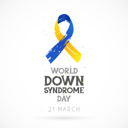 baby sick: World Down Syndrome Day. 21 March. Lettering. Vector illustration on white background. Blue and yellow ribbon. Health concept. Illustration