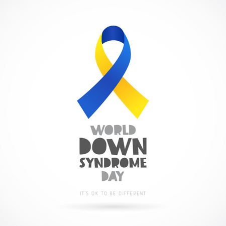 World Down Syndrome Day. Lettering. Vector illustration on white background. Blue and yellow ribbon. Health concept.