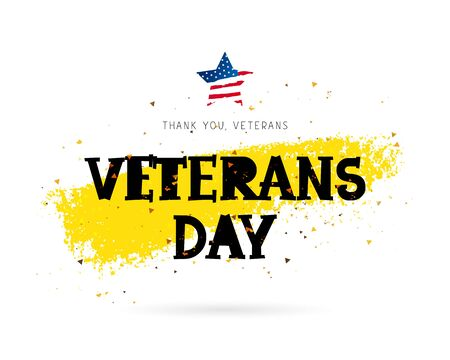 Veterans Day. Lettering. Vector illustration on white background with gold color ink smear. The star of the American flag. Illustration