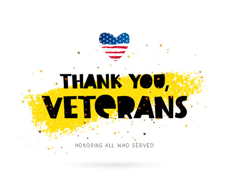 Thank you, veterans. Honoring all who served. Lettering. Vector illustration on white background with gold color ink smear. Heart in the form of an American flag. Stock Vector - 73480629