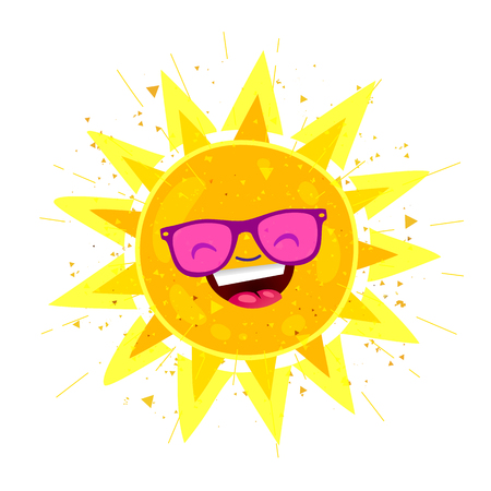 Large bright yellow sun in sunglasses and with a big smile. Vector illustration on white background. Summertime concept.