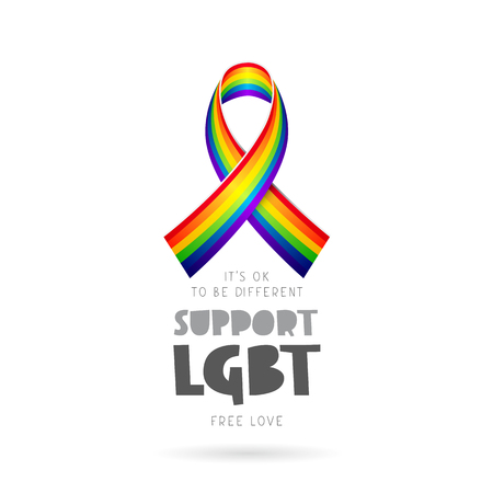 Support LGBT. Its okay to be different. Lettering. Rainbow ribbon. Vector illustration on white background. Sex Culture concept.