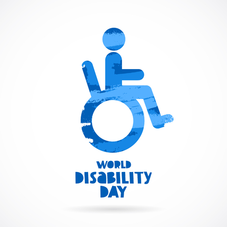 Carrier. World Disability Day. Lettering. Vector illustration on white background. Concept cards. Elements for design.