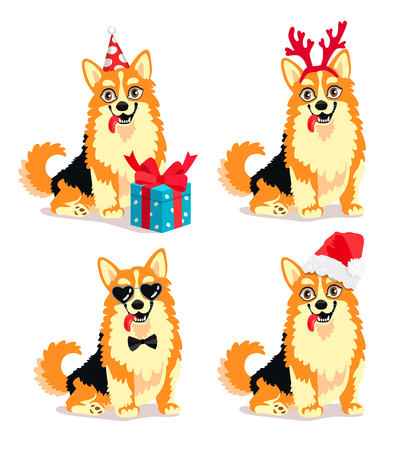 Vector illustration of a cute dog breed Corgi with New Year Attributes. Beautiful puppy, symbol of 2018 year. Friend of human. Elements for a New Years card. Illustration