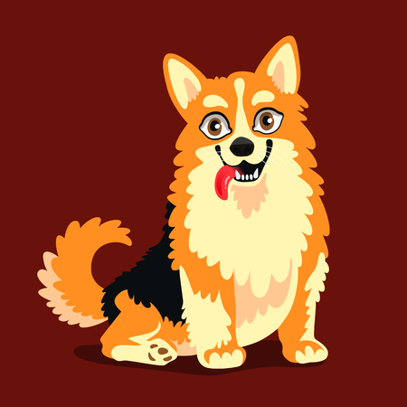 Vector illustration of a cute dog breed Corgi. Beautiful puppy, symbol of 2018 year. Friend of human.