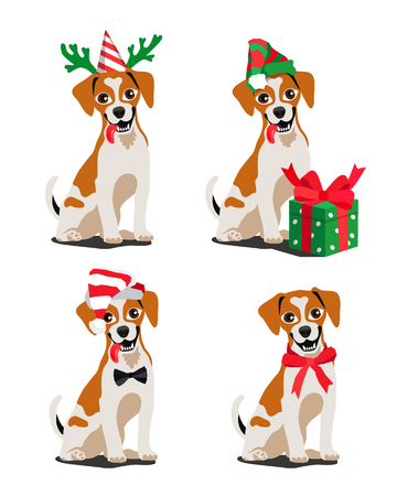 Cute breed dog Jack Russell Terrier. Vector illustration on white background. Mans best friend. Symbol of the new year 2018.