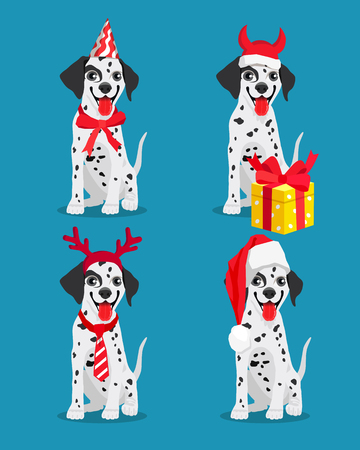 Cute Dalmatian dogs with New Years attributes. Vector illustration on a blue-green background. Illustration