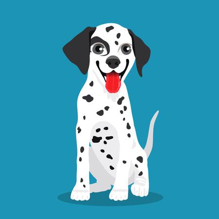 Cute Dalmatian dog. Vector illustration on a blue-green background.
