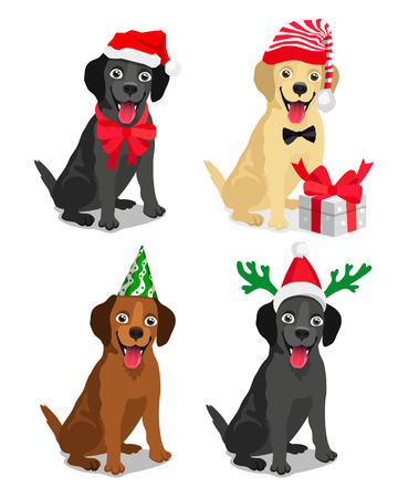 Cute dog ??breeds Labrador in a New Year hat. Vector illustration on white background. Friend of human. Symbol of the 2018. Illustration