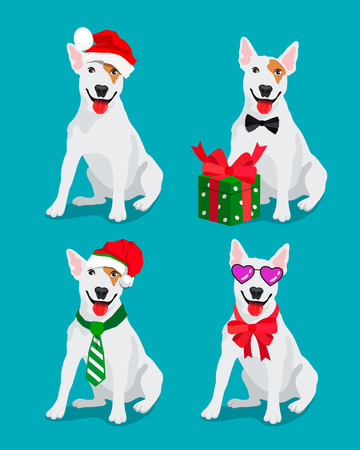 watchman: Lovely dog ?Bullterrier breed in a New Year hat. Vector illustration on a blue background. Friend of human. Symbol of the 2018. Illustration