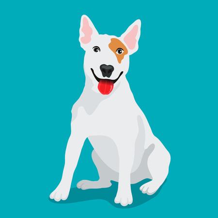 Netter Hund Bullterrier Rasse. Vektor-Illustration auf einem blauen Hintergrund. Freund des Menschen. Symbol des neuen Jahres 2018. Standard-Bild - 77607421