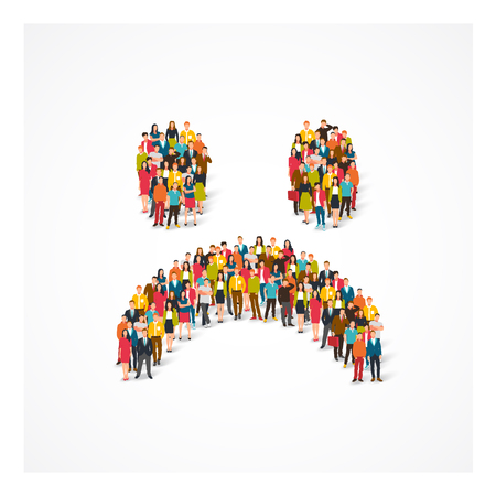 Large group of people lined up in a sad smile. Vector illustration on white background. Concept of disapproval of something.