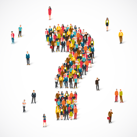 Large group of people lined up as a question mark. Vector illustration on white background. Concept of the opinion poll. Illustration