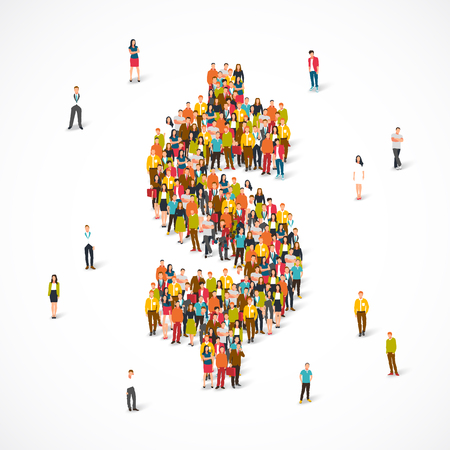 Large group of people stands in the dollar sign. Vector illustration on white background. Concept of money, finances and deposits. Illustration