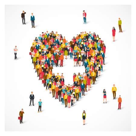 Large group of people are standing in the shape of a heart. Vector illustration on white background. Concept of medicine and health.