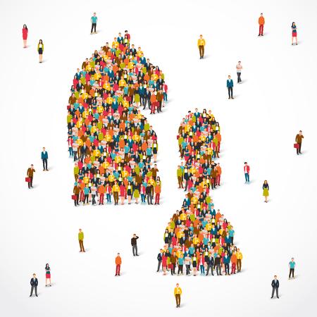 Gruppo di persone si trova nel segno di un cavallo e di un pedone da scacchi. Illustrazione vettoriale su sfondo bianco. Concetto del gioco politico.