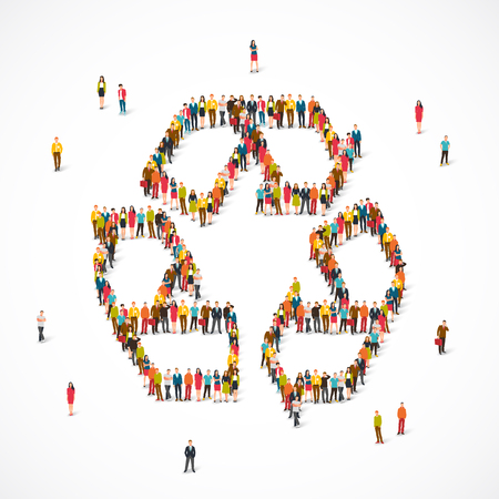 Large group of people in the sign of recycling. Vector illustration on white background. Concept of ecology