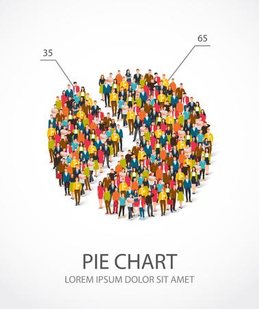 Grote groep mensen staan in een ronde grafiek. Vector illustratie op een witte achtergrond. Concept van analyse en statistieken. De menselijke grafiek.