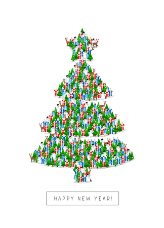 Group of Santa Clauses, snowmen, deer, trees and Snow Maidens stand in the figure of the Christmas tree. Vector illustration on white background. Great holiday gift card for the new year.