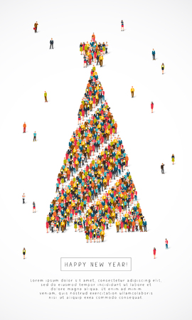 Large group of santa clauses, snowmen, deer, trees and snow maidens stand in the figure of New Years spruce. Vector illustration on white background. Concept of a holiday card for Christmas. Illustration