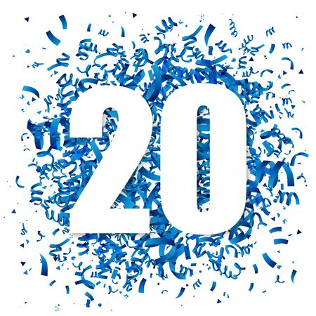 Blue confetti and big white digit 20. Vector illustration. The concept of the design of a holiday greeting card. Place for the text. Anniversary.