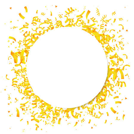 Yellow confetti with a large white circle in the center. Vector illustration. The concept of the design of a holiday greeting card. Place for the text.