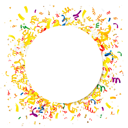 Multicolored confetti with a large white circle in the center. Vector illustration. Concept of the design of a holiday greeting card. Place for the text.