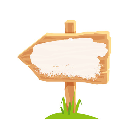 plywood: Wooden pointer in the form of arrow with white paint. Vector icon on white background. Element for design. Concept of location. Illustration