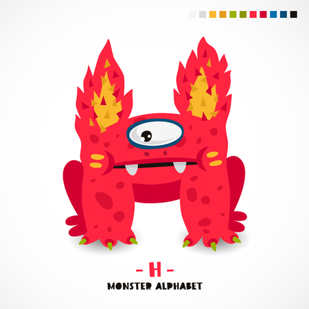 creepy alien: Monster alphabet. Letter H. A strange animal. Vector illustration on white background. Great childrens print. The concept of a kids toy. Illustration
