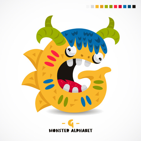 Monster alphabet. Letter G. Strange animal. Vector illustration on white background. Great children's print. The concept of a kid's toy.