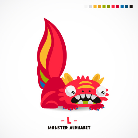 Monster alphabet. Letter L. A strange animal. Vector illustration on white background. Great children's print. The concept of a kid's toy. Vectores