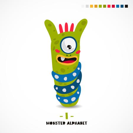 Monster alphabet. Letter I. A strange animal. Vector illustration on white background. Great childrens print. The concept of a kids toy.