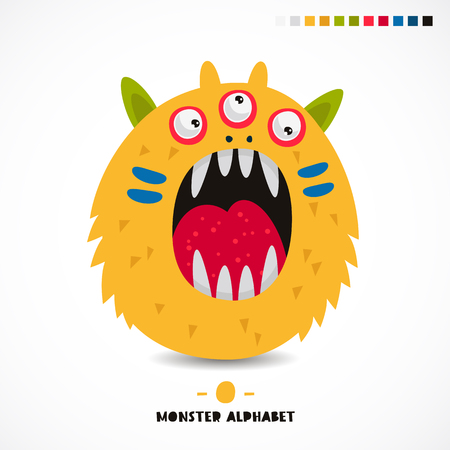 creepy alien: Monster alphabet. The letter O. Strange animal. Vector illustration on white background. Great childrens print. The concept of a kids toy.