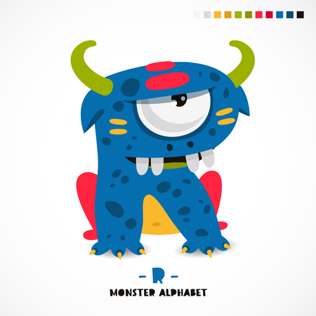 Monster alphabet. Letter R. A strange animal. Vector illustration on white background. Great children's print. The concept of a kid's toy. Vectores