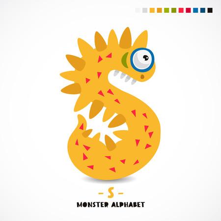 Monster alfabet. De letter S. Vreemd dier. Vectorillustratie op witte achtergrond. Geweldige kinderprint. Het concept van een kinderspeelgoed.