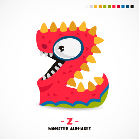Monster alphabet. Letter Z. Strange animal. Vector illustration on white background. Great childrens print. The concept of a kids toy.