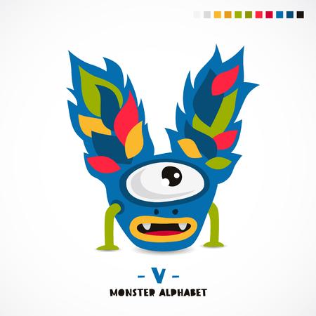 Monster alphabet. Letter V. A strange animal. Vector illustration on white background. Great childrens print. The concept of a kids toy. Illustration