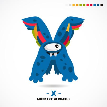 Monster alphabet. Letter X. A strange animal. Vector illustration on white background. Great childrens print. The concept of a kids toy. Illustration