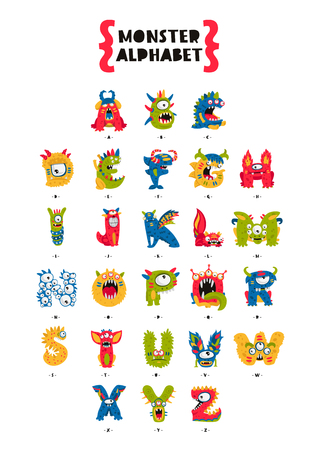 creepy alien: Poster of Monster Alphabet. Vector illustration on white background. Fictional animals. The concept of the primer.