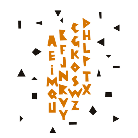 Vector geometric alphabet. Colored letters on a white background. Font and lettering.