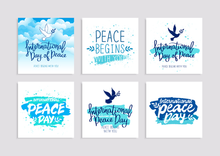 earth day: Set of postcards for the International Day of Peace. September 21. Pigeon with olive branch. Vector illustration. Lettering and calligraphy.