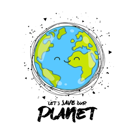 Let's save our planet. Vector illustration on white background. A smiling earth globe. Lettering. Concept of energy saving and ecology. Иллюстрация